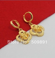 E510 New Trendy 24 Carat Gold Plated Women Jewelry Nice Flower Drop Earrings Designer Lead Free High Quality Free Shipping(China (Mainland))