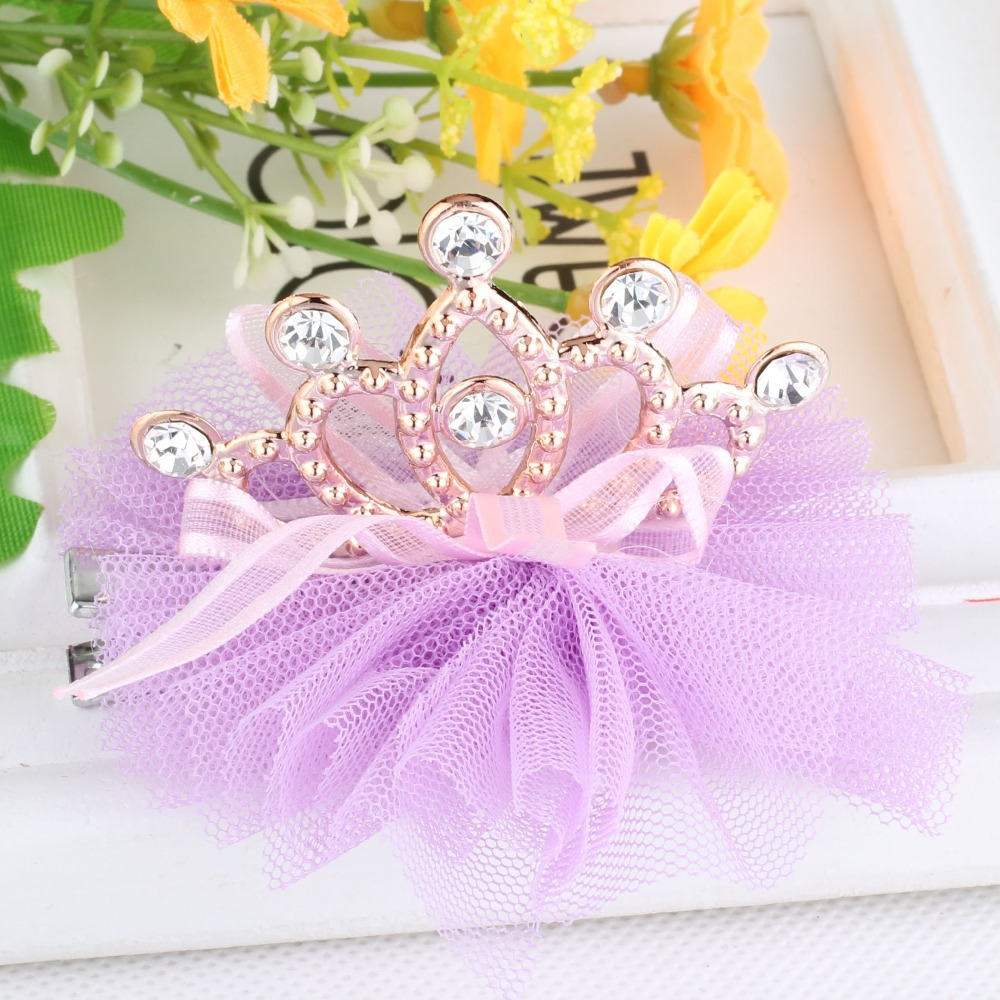 New Style Hot Sale Girls Shiny Rhinestone Crown Shaped Hair Clip With Ribbon Children Accessories Protective Cute Hair clip(China (Mainland))