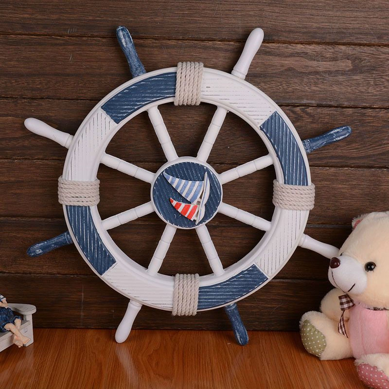 Mediterranean Style Blue And White Hemp Rope Decorated Wooden Rudder Helm Home Restaurant School Decoration(China (Mainland))