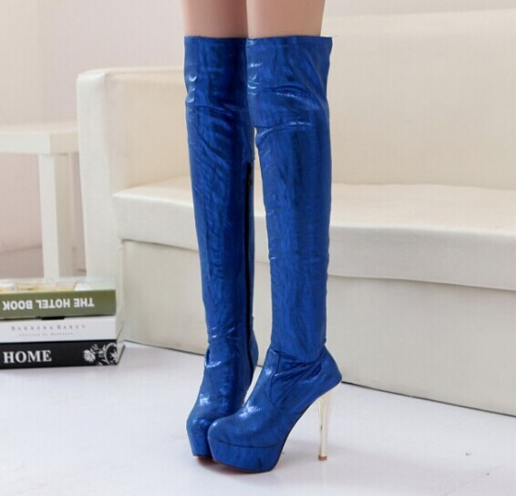 2014 winter fashion sexy thin high-heeled  slim woman thigh knight boots over the knee boots dancing shoes large size 32-43