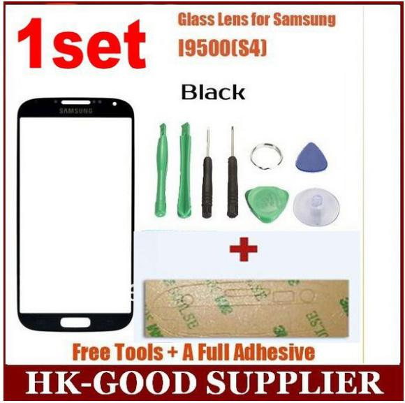 1set black s4 front outer glass for samsung galaxy s4 i9500 lcd touch screen digitizer front glass lens free shipping