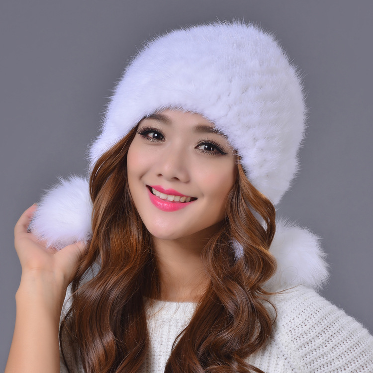 2015 New Style Genuine Knitted Rex Mink Fur Hat Natural Mink Fur Caps Women Winter Hats Female Real Fur Hat(China (Mainland))