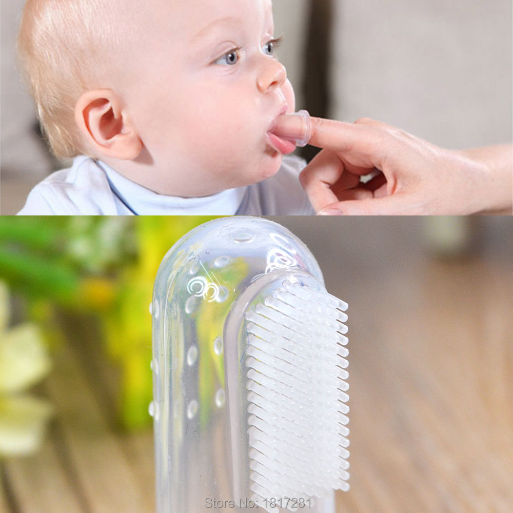 Brand New 10Pcs Soft Safe Baby Toothbrush Kids Silicone Finger Toothbrush Gum Brush For Clear Massage(China (Mainland))