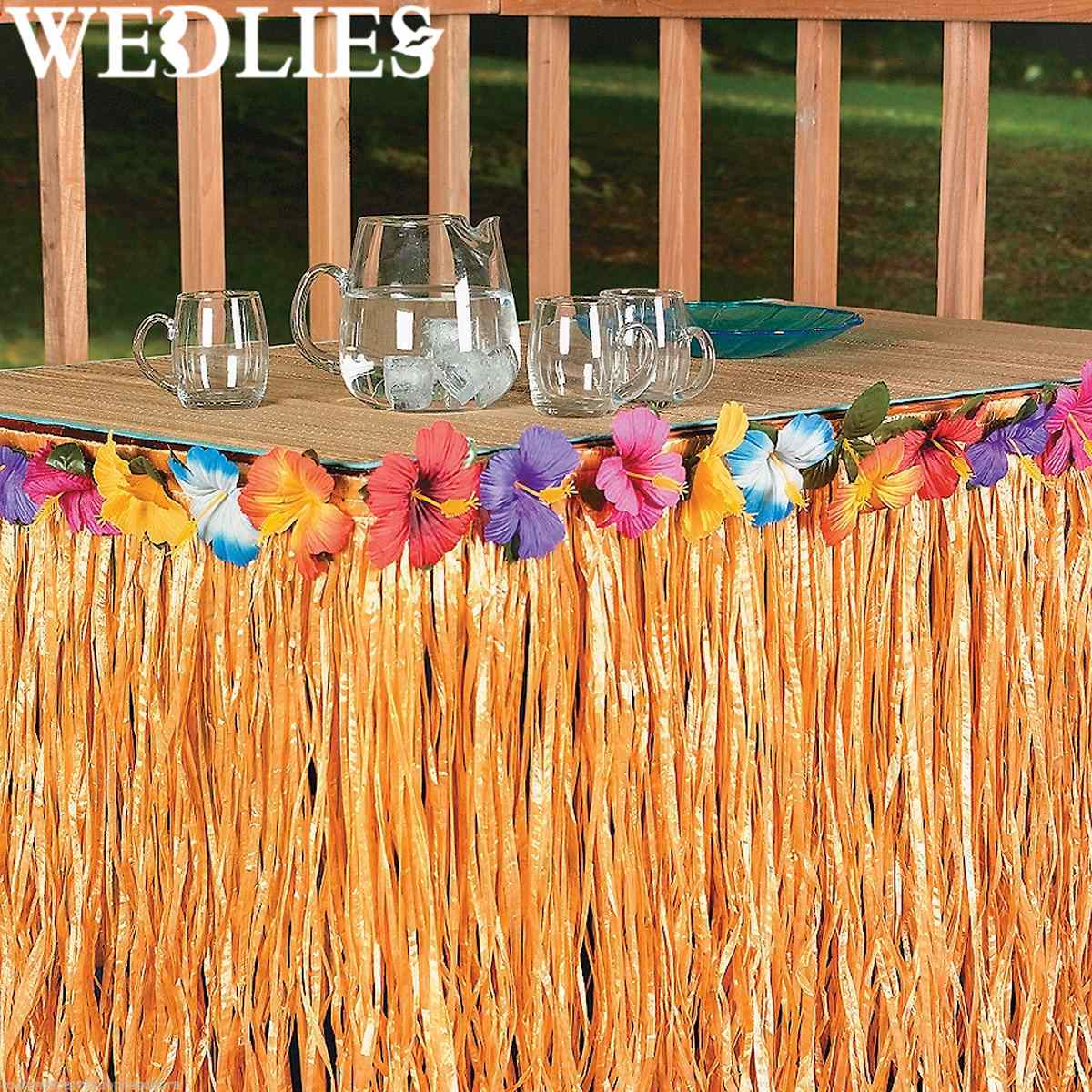 Plastic Hawaiian Luau Colorful Table Fringe Multicolored Flower Table Skirt Home Outdoor Camping Garden Beach Party Decoration(China (Mainland))