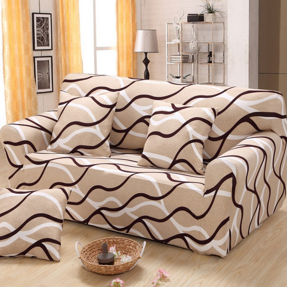 Brown Stripe Stretch Double-Seater Sofa Couch Slipcover Loveseat Furniture Protector Cover 145-185cm(China (Mainland))