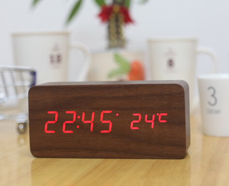 Creative Alarm Clocks With Temperature,Digital Clock,Big Number Table Clock,Home Decor Wooden Led Clock for gift(China (Mainland))