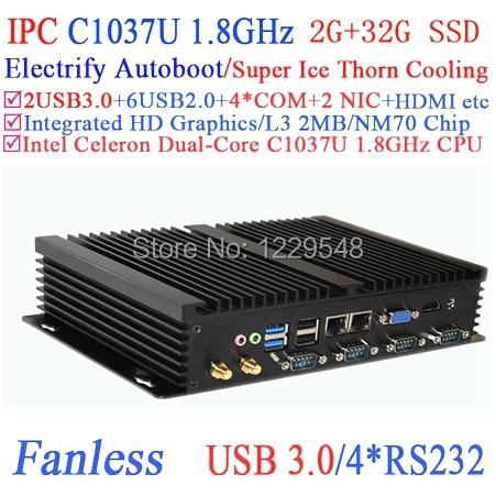 Industrial computer workstation with USB 3.0 Dual Gigabit LAN 4 RS232 HDMI Auto Boot Intel Celeron C1037U 1.8Ghz 2G RAM 32G SSD(China (Mainland))
