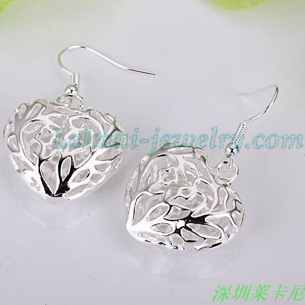 Free shipping, Hollow heart 925 sterling silver earring, wholesale 925 silver earring, silver heart pendant earring