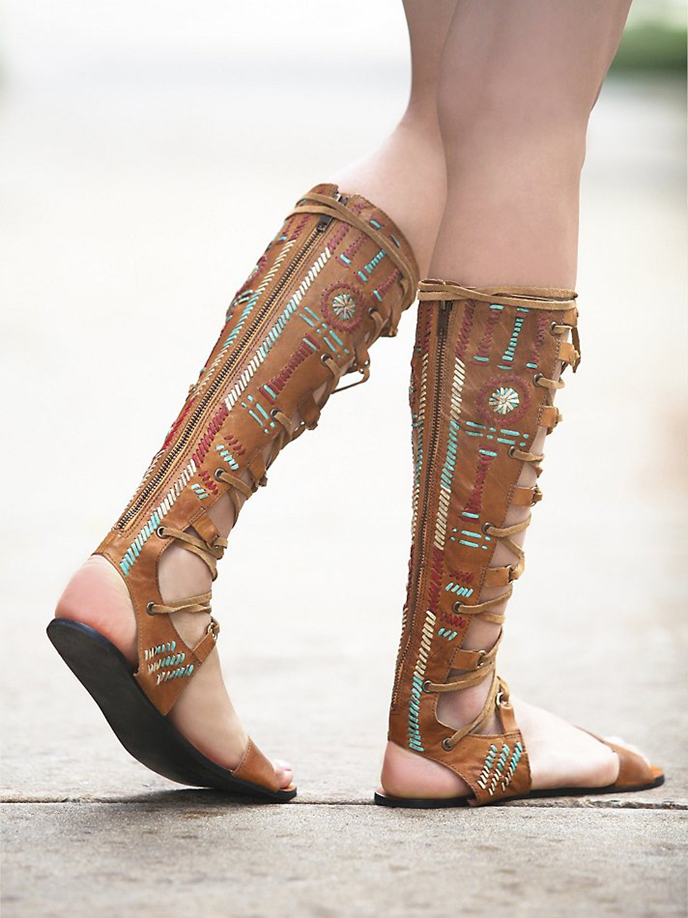 2015 Women Fashion Roman Knee High Sandals Summer Style ...