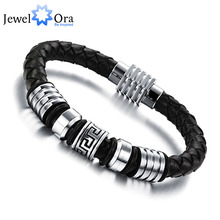 185mm 200mm 215mm Fashion Stainless Steel Genuine Leather Bracelets & Bangles Men Jewelry (JewelOra BA101170)(China (Mainland))