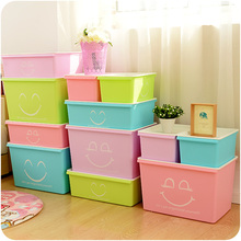 Candy Smile Plastic Storage Box Toy Organizer Clothes Storage Cases Household Necessities 4 Colors Size S M L Room Organizer(China (Mainland))