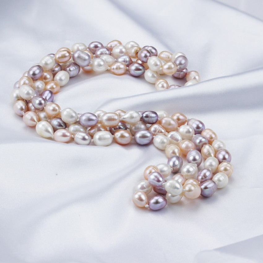 SNH 8mm Rice A 48inches Long Pearl Necklace Mixed Color And White Color  Natural Necklace   Us531
