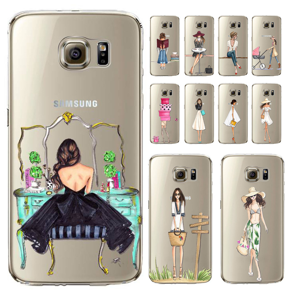 Case Cover For Samsung Galaxy s6 Fashion Modern Sexy Dress Shopping Hat Girls Painted Transparent Soft TPU Back Capa Cases(China (Mainland))