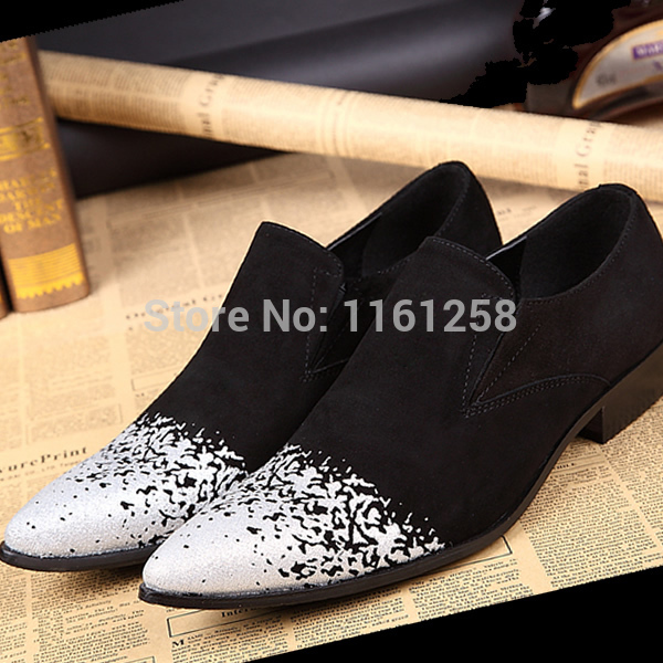New Spring 100% Real Genuine Leather Man Italian Style Black Suede Mens Flats Business Dress Shoes fashion glitter wedding<br><br>Aliexpress