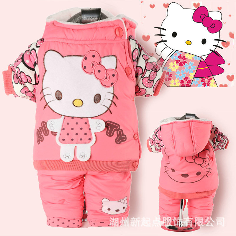 Free shipping 2016 baby girl`s winter clothing Kitten bow matting cotton coat + pants lovely hello kitty two-piece baby suit(China (Mainland))