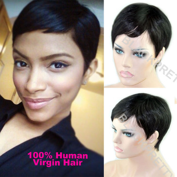 Celebrity Cheap Pixie Cut Human Brazilian Hair Very Short Wig Natural Black Human None Lace Guleless Wig For Black Women Wigs