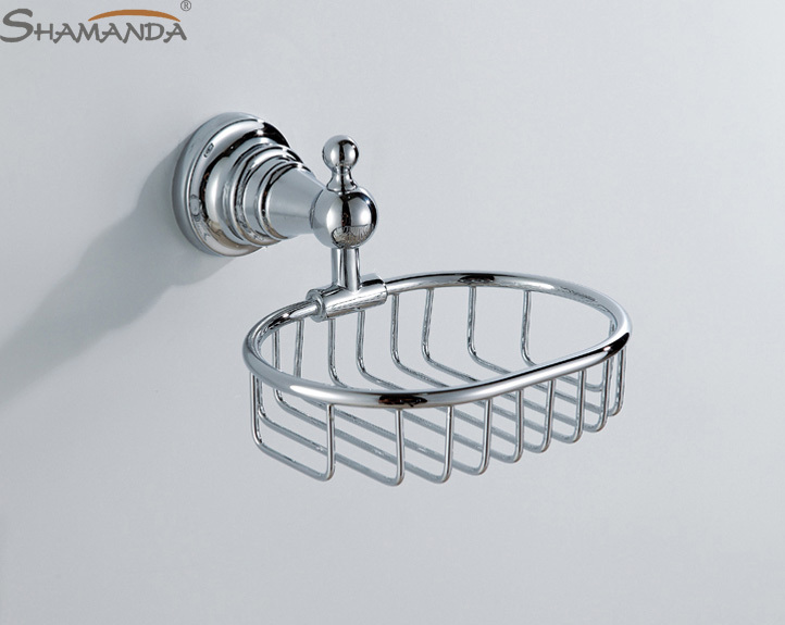Free shipping Fashion design high quality bathroom chrome finishing soap dish holder soap basket-wholesale-bathroom accessores(China (Mainland))