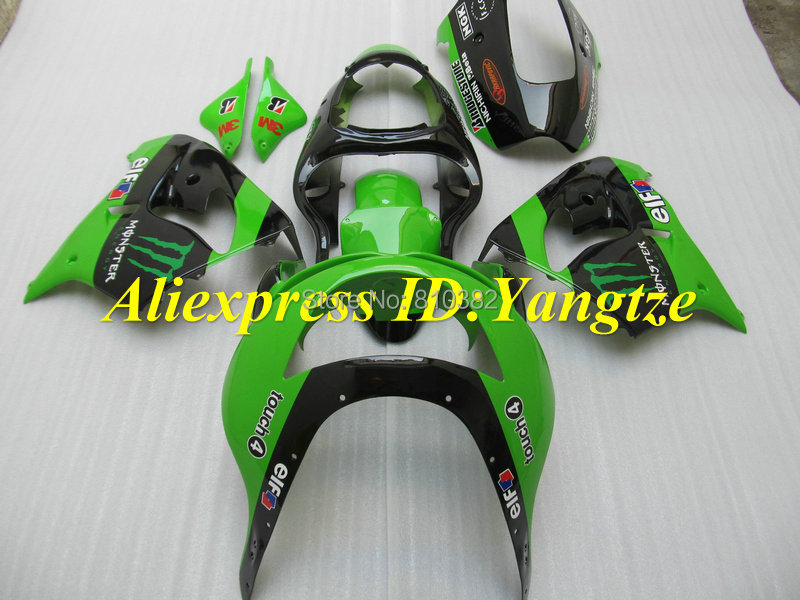 CUSTOM Motorcycle Fairing kit for KAWASAKI Ninja ZX9R 1998 1999 ZX9R 98 99 Green gloss black ABS Fairings set +7 gifts SD17(China (Mainland))