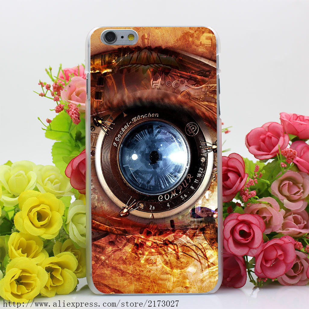 467U Mechanical Eye Steampunk Hard Case Transparent Cover for iPhone 4 4s 5 5s 5c SE 6 6s 7 & Plus
