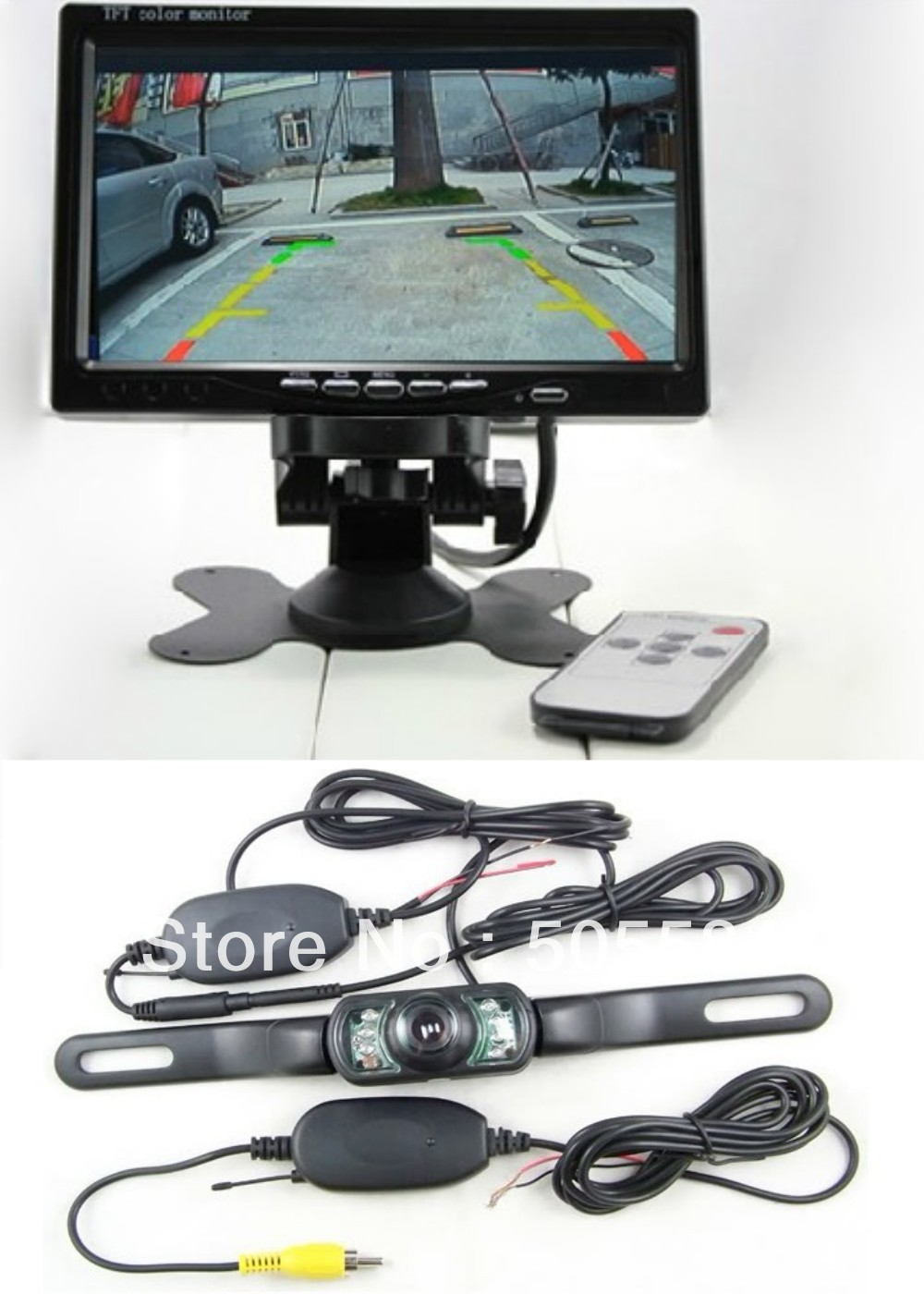"""Wireless Rear camera Car kit with 7"""" LCD Monitor+2.4g transmitter receiver+ Night vision for Rearview Reverse Parking Assistance(China (Mainland))"""