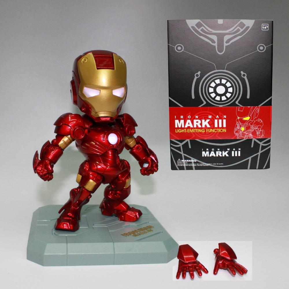 Marvel Avengers Super Hero Iron Man Mini LED Flash Light 15CM PVC Action Figure Doll Set Model Funko Pop Collection Kid Toy Gift(China (Mainland))