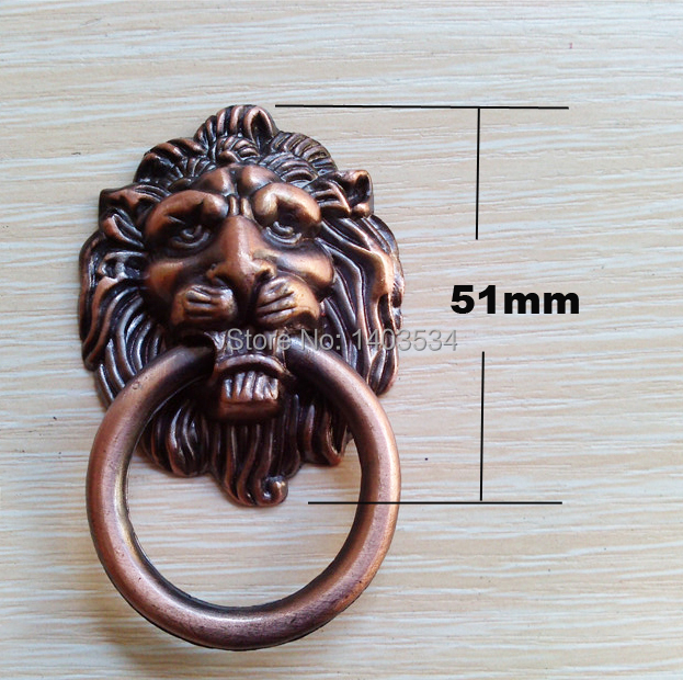 5pcs Antique Brass/ Red Copper Lion Head Dresser Knobs Modern Baby Pulls Cabinet Hardware Dresser Handles Cartoon Wholesale(China (Mainland))