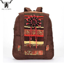 2016 New Women's Suede Backpacks Vintage Ethnic Handmade Beads Zipper Flap Shoulder Bag Schoolbags For Teenagers Girls B171(China (Mainland))