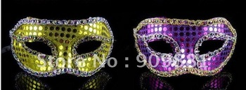 10pcs new arrival  Elegant crew cut sequins to wrap cloth mask Halloween half face mask free shipping