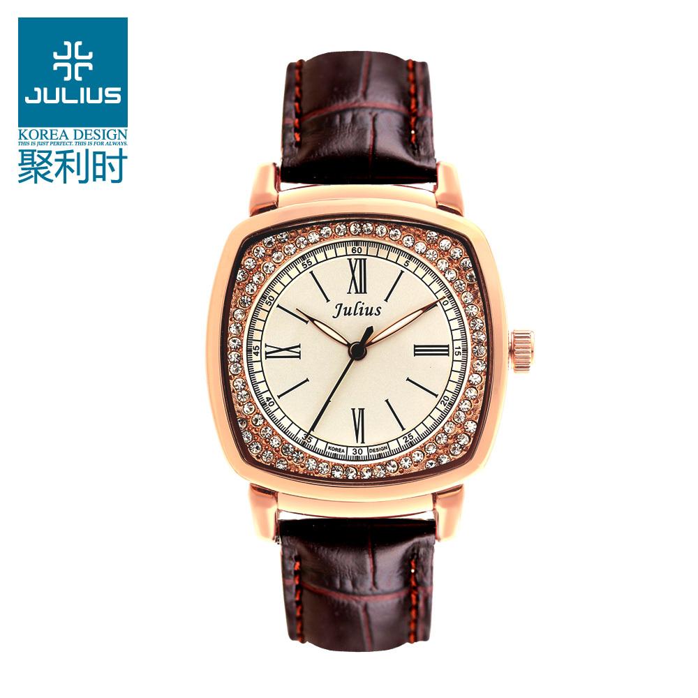 Top Julius Office Lady Woman Wrist Watch Elegant Retro Rhinestone Fashion Hours Dress Bracelet Leather School Girl Gift JA-718<br><br>Aliexpress
