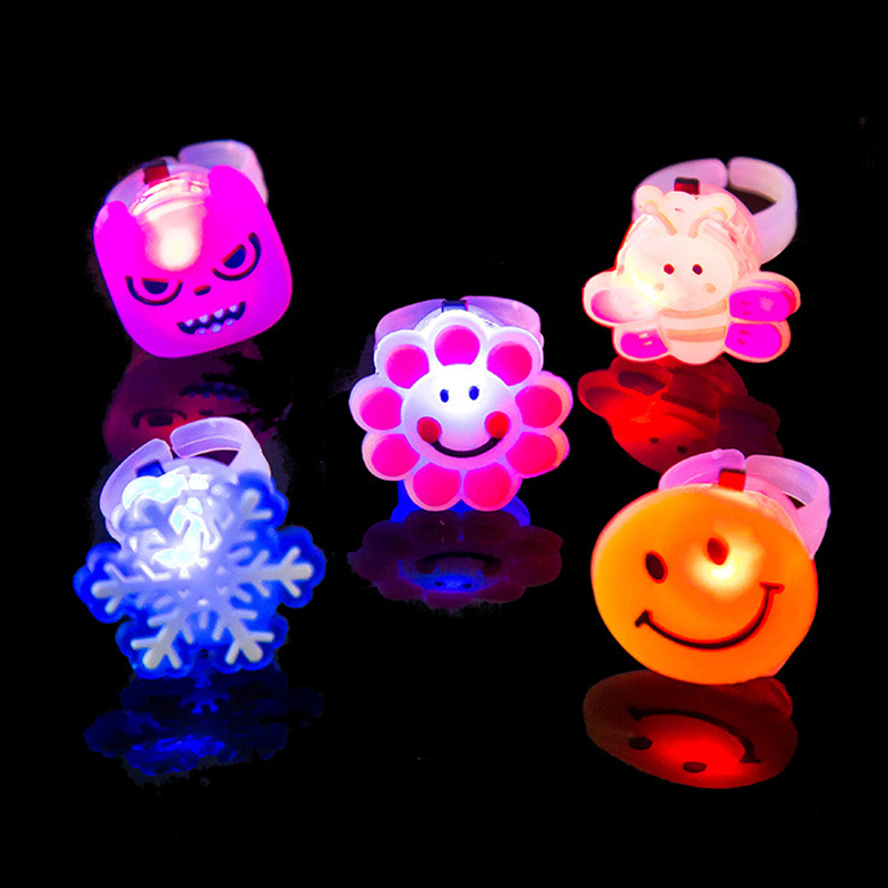4 Piece Send Random Kids Toy LED Night Light Birthday Decoration Finger Ring Cartoon Colorful Gift Event Decoration(China (Mainland))