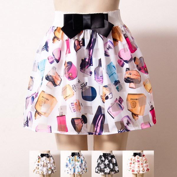 High Quality Vintage Cheap Cute Women Clothes Floral,dot,lip Pleated Apricot Rose Print Chiffon Summer high waist Skirt(China (Mainland))
