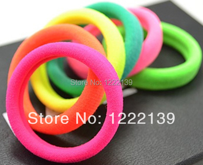 Lady's Hair Accessaries Hair Bands Elastic Ties Ponytail Fluorescent Color Rubber Band Holder Ponies For Women(China (Mainland))
