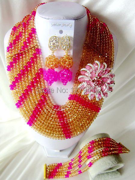 Fashion Nigeria, USA, Europe, Africa, wedding jewelry, crystal jewelry necklace  T-1162<br><br>Aliexpress