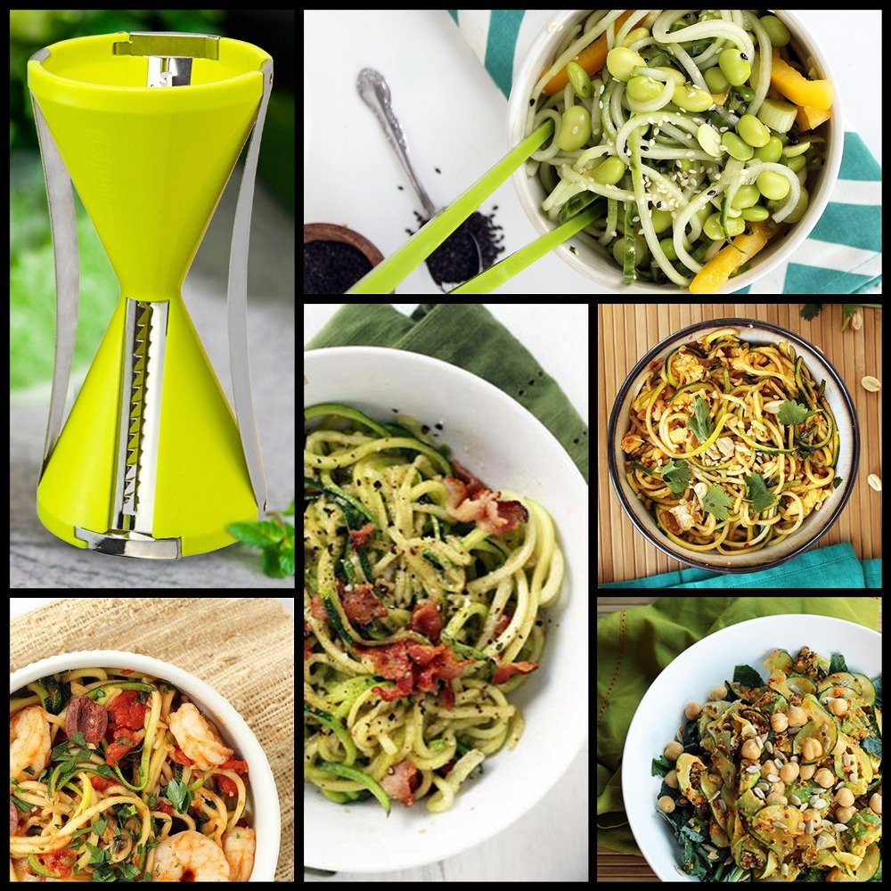 2015 new hot sale 4 removable blades fruit vegetable spiral slicer spiral vegetable Slicer Perfect Veggie Spaghetti/Pasta Maker(China (Mainland))
