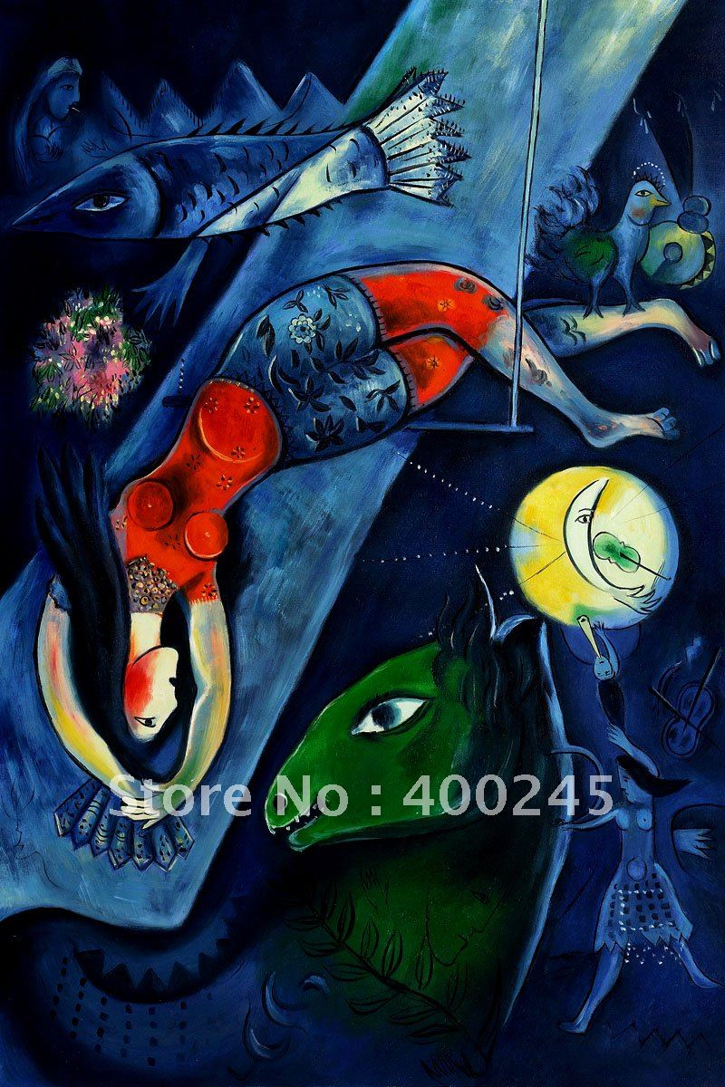 product High qualityArt Galleryoil painting by Marc ChagallThe Blue Circusdecorative painting100%handmadefree shipping