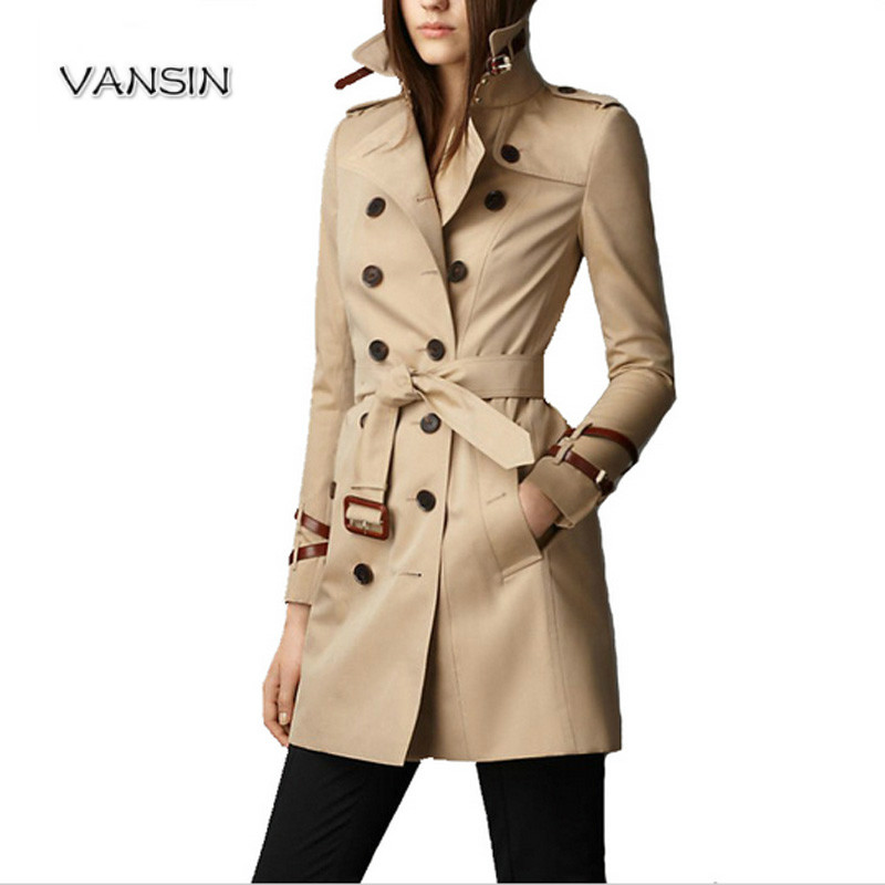2016 London Fashion Brand double breasted leather buckle Trench Classic European Trench Coat Double Breasted Women Pea Coat(China (Mainland))