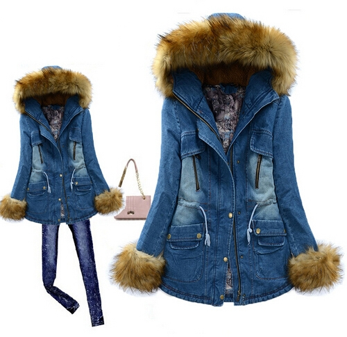 Фотография New 2014 Fashion Faux Fur Collar Winter Cotton-Padded Denim Coat Women Slim Long Thick Winter Jacket Women Free Shipping B2455