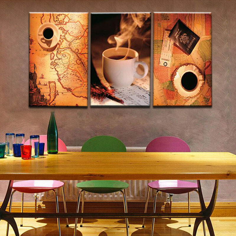 Unframed 3 Panel Vintage Map And Cup Of Coffee Europe Style Home Wall Decor Print Canvas Picture