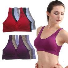 Hot Womens Sports Bra Vest Padded Crop Tops Underwear 7 Colors No Wire-rim Bras(China (Mainland))
