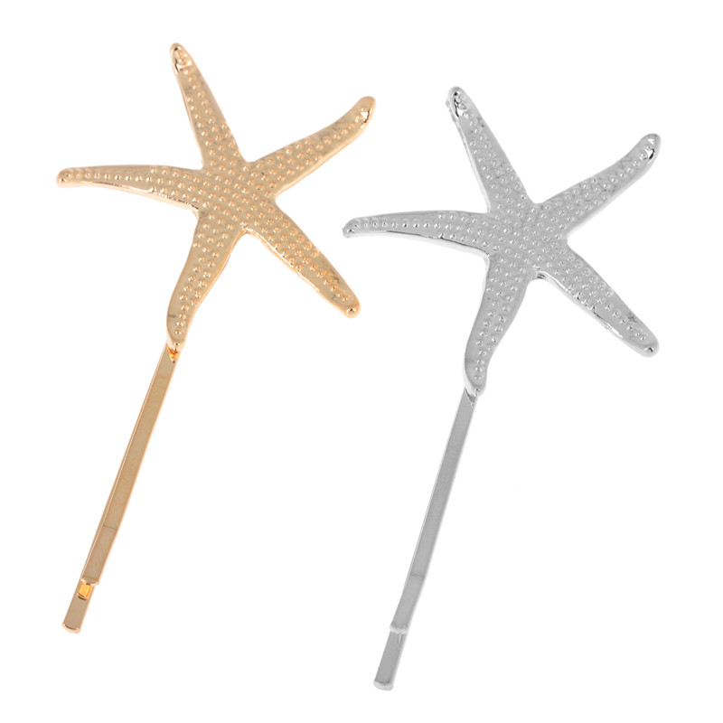 Hot Sale Fashion Alloy Starfish Hair Clip Cute Gold/Silver Plated Star Hair Accessories For Women Head Jewelry Gold/Silver(China (Mainland))