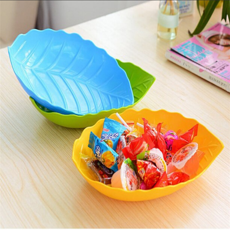 2016 19x14cm Fruit Dish Candy Tray Leaf Shape Plastic Fruit Plate Snacks Dish Blue Green Orange Pink Red Yellow To choose(China (Mainland))