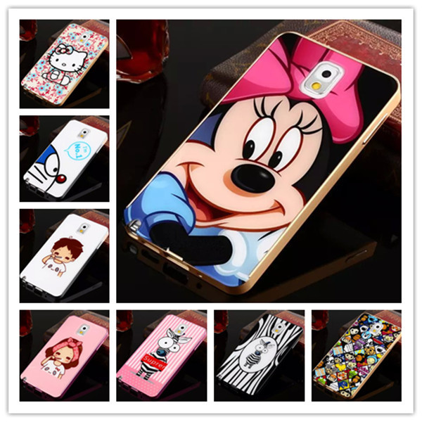 For Samsung Note3 Case Hello Kitty Cartoon Minnie Hard PC+Aluminum Frame Ultra-Thin Metal Back Cover For Samsung Galaxy Note 3(China (Mainland))