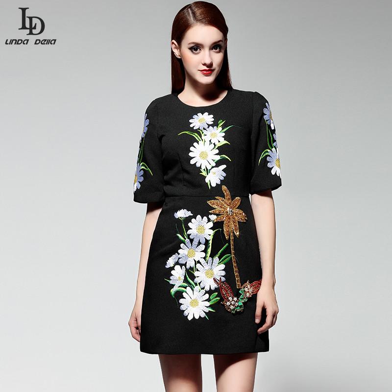 black dress 2015 new runway fashion designer women elegant luxury