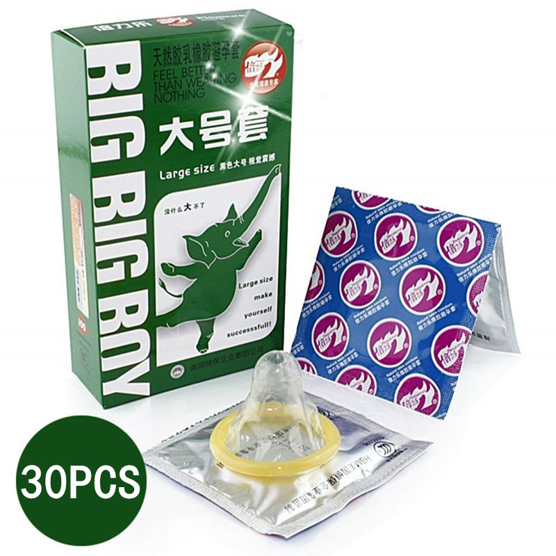 30Pcs Large Size Big XXL Condom For Men Smooth Women Vaginal Adult Game Sex Toy Sex Products For Man(China (Mainland))