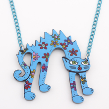 Cat Flowers Acrylic Necklace
