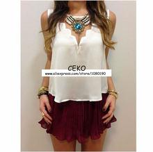 2015 Fashion Sexy Womens Summer Chiffon Vest Blouse Candy Sleeveless Tank Tops Women Blouses Shirts Causal Blusas Femininas