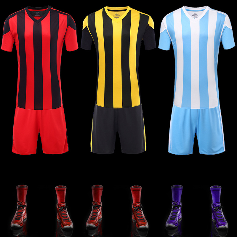 2016 Thai Quality Top Men Customized Soccer Jerseys Football Blank Uniforms Hot sale Sport Tracksuits Short Sleeve Stripes Bar(China (Mainland))