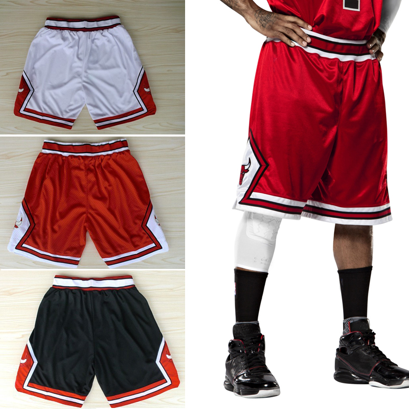Hot Sale chicago basketball shorts jordan,rose red white black 3 color embroidery logo rev 30 size:s-xxxl(China (Mainland))