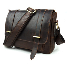 Free shipping 2016 messenger bag fashion vintage genuine leather man bag cross-body bag portable crazy horse leather bag brown