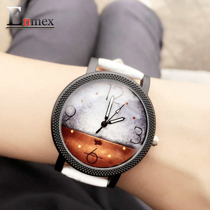 2016 lady gift Enmex abstract patterns Engraved watch case with simple unique design for young fashion quartz watches(China (Mainland))